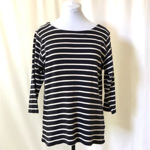 L.L.Bean l Navy/White Classic BoatNeck Striped Tee